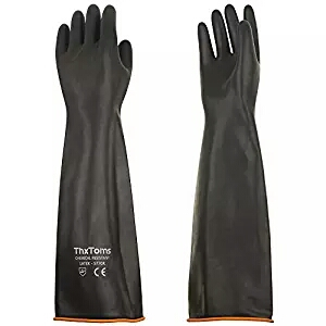 """ThxToms Heavy Duty Latex Gloves, Resist Strong Acid, Alkali, and Oil, 22"""", 1 Pair"""